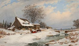 Cornelius Krieghoff | Visitors in Winter, 1854 | Giclée Canvas Print