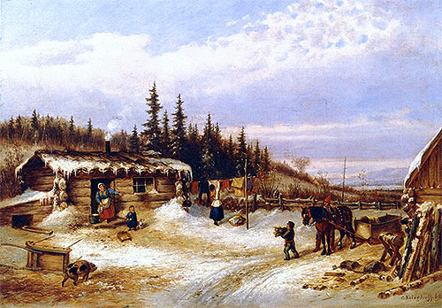 Log Hut on the St. Maurice, 1862 | Cornelius Krieghoff | Painting Reproduction