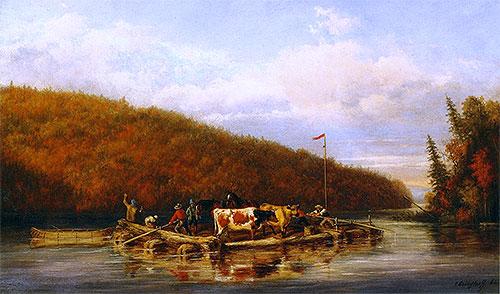 Crossing Cattle for Lumbering Purposes, 1862 | Cornelius Krieghoff | Painting Reproduction