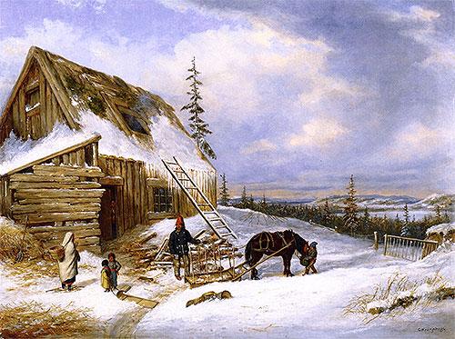 Log Cabin, Winter Scene, Lake St. Charles, c.1862 | Cornelius Krieghoff | Painting Reproduction