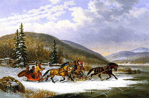 Sleigh Race across the Ice, 1861   Cornelius Krieghoff   Painting Reproduction