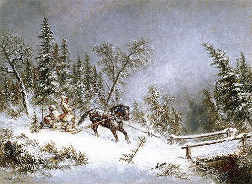 Winter Scene, Blizzard, 1856 | Cornelius Krieghoff | Painting Reproduction