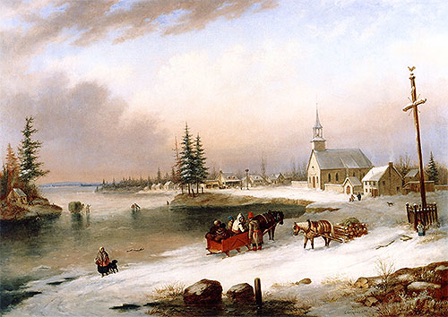 Village Scene in Winter, 1850 | Cornelius Krieghoff | Painting Reproduction
