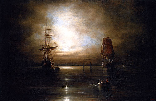 Marine View - Moonlight, c.1845 | Cornelius Krieghoff | Painting Reproduction