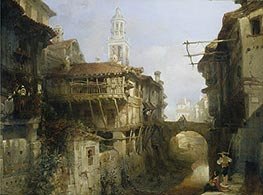 David Roberts | Old Buildings on the Darro, Granada, 1834 | Giclée Canvas Print