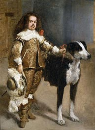 Velazquez | Portrait of a Buffoon with a Dog, c.1650 | Giclée Canvas Print