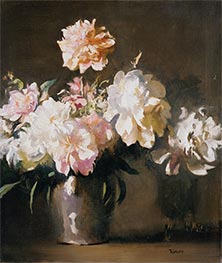 Vase of Peonies, c.1925 by Edmund Charles Tarbell | Giclée Canvas Print