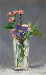 Manet | Pinks and Clematis in a Crystal Vase | Giclée Canvas Print
