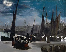 Manet | Moonlight over Boulogne Harbor | Giclée Canvas Print
