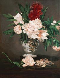 Manet | Peonies in a Vase on a Stand, 1864 | Giclée Canvas Print