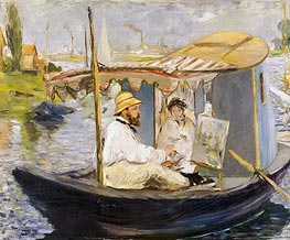 Manet | The Boat (Claude Monet, with Madame Monet, Working on His Boat in Argenteuil), 1874 | Giclée Canvas Print