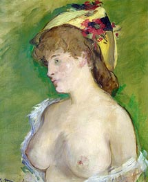 Manet | The Blonde with Bare Breasts, 1878 | Giclée Canvas Print