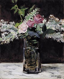 Manet | Vase of White Lilacs and Roses, 1883 | Giclée Canvas Print