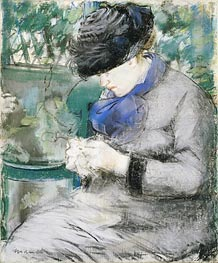 Manet | Girl Sitting in the Garden (Knitting) | Giclée Canvas Print