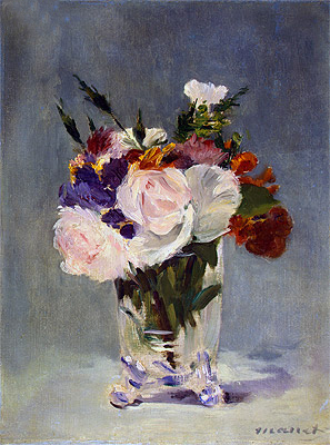 Flowers in a Chrystal Vase, c.1882 | Manet | Painting Reproduction