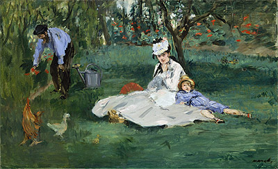 The Monet Family in Their Garden at Argenteuil, 1874 | Manet | Painting Reproduction