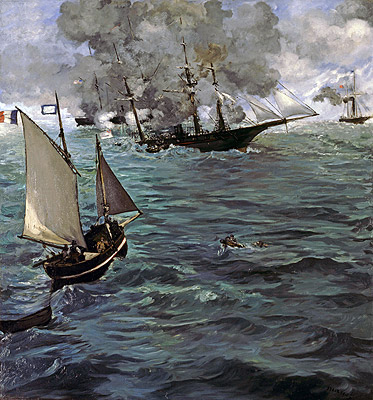 Battle of the 'Kearsarge' and the 'Alabama', 1864 | Manet | Painting Reproduction
