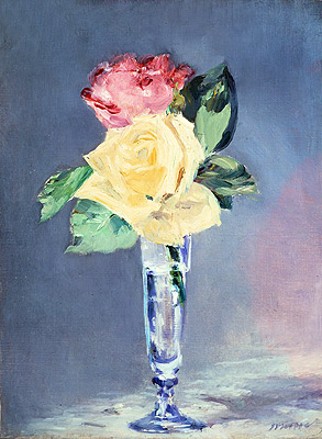 Roses in a Champagne Glass, c.1882   Manet   Painting Reproduction