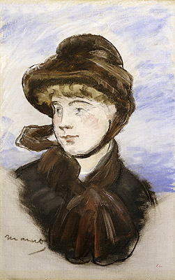 Young Girl in a Brown Hat, 1882 | Manet | Painting Reproduction