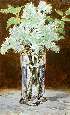 White Lilac in a Crystal Vase, 1882 | Manet | Painting Reproduction