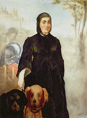Woman With Dogs, 1858 | Manet | Painting Reproduction