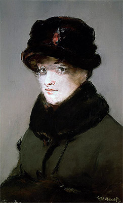 Mery Laurent Wearing a Fur-Collared Cardigan, 1882 | Manet | Painting Reproduction