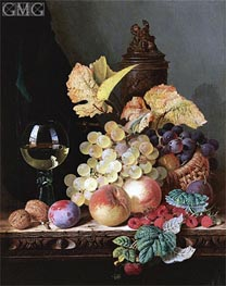 Edward Ladell | Still Life with Peaches, Plums, Grapes and Walnuts | Giclée Canvas Print