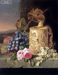 Edward Ladell | Still Life with Grapes, Roses wnd w Stein on a Marble Ledge, undated | Giclée Canvas Print