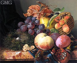Edward Ladell | Still Life with Peaches, Plums, Cherries, Grapes a Pear and a Bird's Nest | Giclée Canvas Print