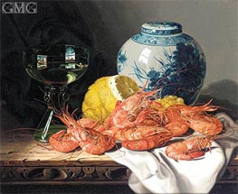 Edward Ladell | Still Life with Prawns, a Lemon, Wine Glass and Delft Pot | Giclée Canvas Print