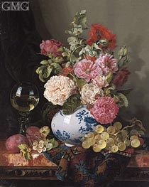 Edward Ladell | Mixed Flowers in a Chinese Vase with Grapes and a Wine Roemer | Giclée Canvas Print