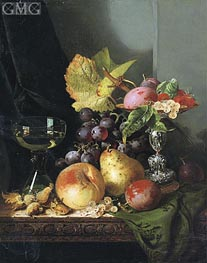 Edward Ladell | Plums, Raspberries and White Currants in a Tazza, undated | Giclée Canvas Print
