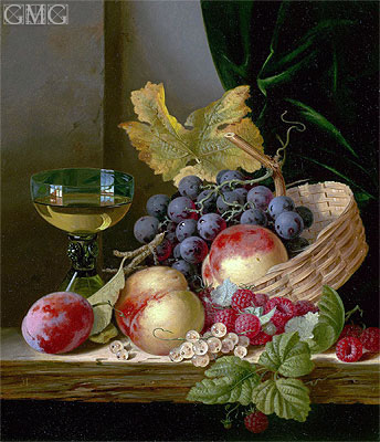 A Basket of Peaches and Grapes with Raspberries and a Roemer on a Wooden Ledge, undated | Edward Ladell | Painting Reproduction