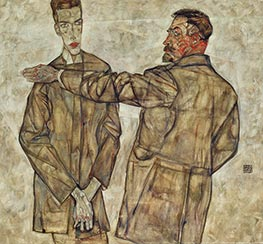 Double Portrait of Otto and Heinrich Benesch, 1913 by Schiele | Giclée Canvas Print