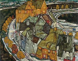 Schiele | Crescent of Houses II (Island Town) | Giclée Canvas Print