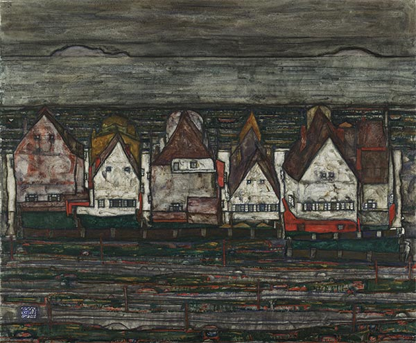 Schiele | Houses by the Sea (Row of Houses) | Giclée Canvas Print