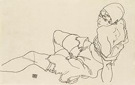 Schiele | Leaning Woman in Underwear | Giclée Canvas Print