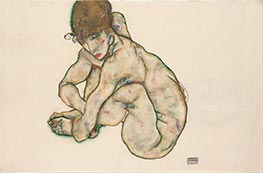 Schiele | Crouching Nude Girl | Giclée Paper Print
