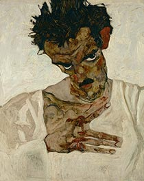 Schiele | Self-Portrait with Bent Head | Giclée Canvas Print
