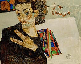 Schiele | Self-Portrait with Spread Fingers | Giclée Canvas Print