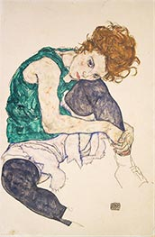 Schiele | Seated Woman with Bent Knees | Giclée Canvas Print