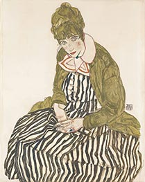 Schiele | Edith with Striped Dress, Sitting | Giclée Paper Print