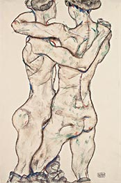 Naked Girls Embracing, 1914 by Schiele | Giclée Paper Print