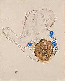 Nude with Blue Stockings, Bending Forward, 1912 by Schiele | Giclée Paper Print