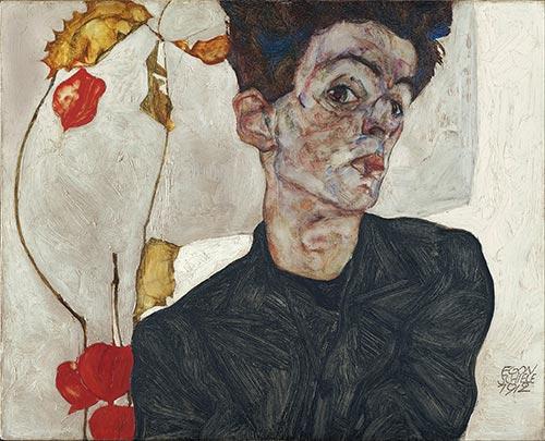 Self-Portrait with Physalis, 1912 | Schiele | Painting Reproduction