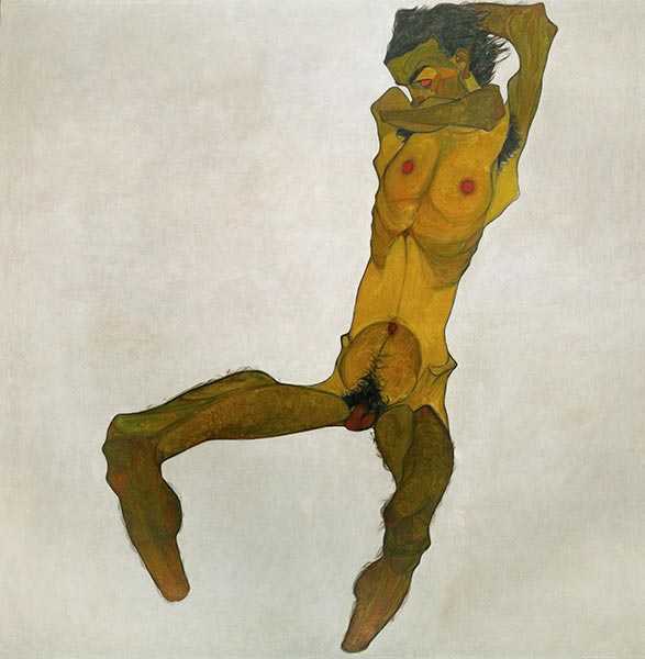 Seated Male Nude (Self-Portrait), 1910 | Schiele | Painting Reproduction
