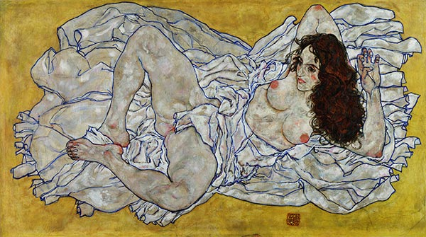 Schiele | Reclining Woman, 1917 | Giclée Canvas Print