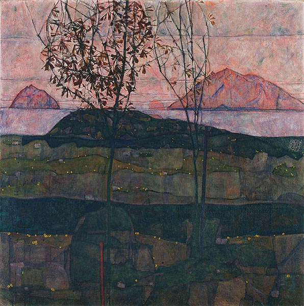 Setting Sun, 1913 | Schiele | Painting Reproduction