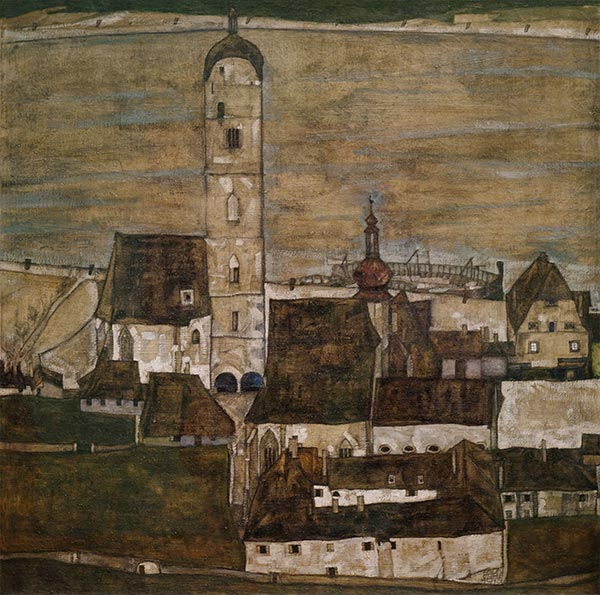 Stein on the Danube II, 1913 | Schiele | Painting Reproduction