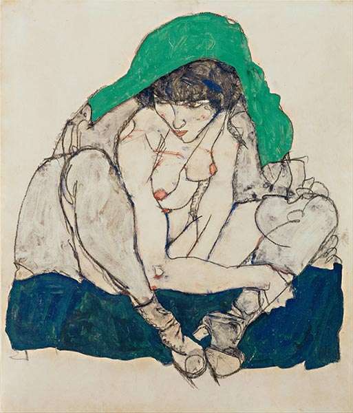 Crouching Woman with Green Headscarf, 1914 | Schiele | Painting Reproduction